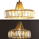 Elegant Modern Drum Pendant Light Metal 1 Light Gold Mini Chandelier with Crystal Decoration for Bedroom