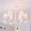 Zebra Baby Bedroom Chandelier Metal 3/6/8 Heads Cute Pendant Light with Fabric Shade in White