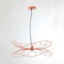 Nordic Stylish Pink Hanging Light Lotus Leaf 1 Light Iron Ceiling Light for Dining Room Bedroom