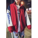 Guys New Trendy Simple Letter Colorblock Long Sleeve Stand Collar Zip Up Casual Loose Coach Track Jacket Coat