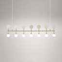 Simple Style Linear Island Light with Orb Shade Frosted Glass 7 Lights Gold Island Lamp for Hallway
