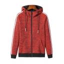 Mens Fashion Striped Long Sleeve Drawstring Hooded Zip Up Breathable Running Coat Jacket