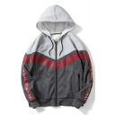 Guys Stylish Letter Long Sleeve Fashion Patchwork Casual Loose Zip Up Hoodie