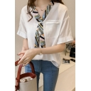Fashion Print Tied V-Neck Short Sleeve Casual Loose Blouse Top