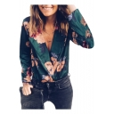 Fashion Lapel Collar Long Sleeve Chic Floral Printed Green Bodysuit Blouse Top for Women