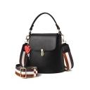 Women's Fashion Plain Heart Tassel Embellishment Striped Strap Metal Buckle Shoulder Bucket Handbag 20*11*18 CM