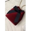 Women's Fashion Plain Bow Tied Velvet Crossbody Bucket Bag With Chain Strap 17*19*9.5 CM