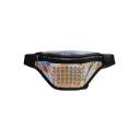 Women's Fashion Plain Rhinestone Embellishment Waterproof Laser Waist Belt Bag 15*37*9 CM