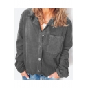 Simple Plain One Pocket Long Sleeve Button Down Casual Loose Button Down Linen Shirt