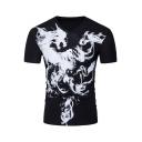 Mens Unique V-Neck Short Sleeve Smog Dragon Printed Black Slim Fit T-Shirt