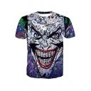 Unique Stylish Clown 3D Printed Round Neck Short Sleeve T-Shirt