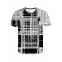 Unique Art Abstract Whirlpool Printed Round Neck Short Sleeve Grey T-Shirt