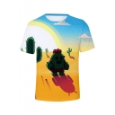 New Stylish Funny Cartoon Cactus Pattern Short Sleeve Unisex T-Shirt