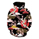 Chinese Style Crane Floral Printed Long Sleeve Loose Fit Unisex Pullover Hoodie