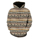 Unique Stylish Striped Printed Long Sleeve Casual Loose Unisex Hoodie