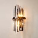 Living Room Cylinder Wall Lamp Clear Crystal Two Lights Modern Stylish Sconce Wall Light