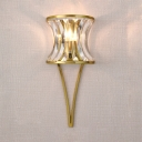 Elegant Style Gold Wall Light Candle 1 Bulb Glittering Crystal Sconce Light for Bedside Mirror