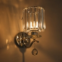 Chrome Candle LED Wall Light 1 Bulb Simple Style Glittering Crystal Sconce Light for Corridor