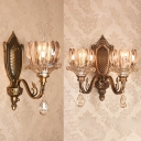 Classic Style Lotus Wall Light 1/2 Heads Metal & Striking Crystal Wall Lamp in Gold for Bedroom