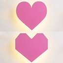 Wood Loving Heart Sconce Light Dining Room Romantic Warm Lighting LED Wall Lamp in Pink