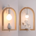 Child Bedroom Bird/Cupid Wall Light Wood Single Bulb Rustic Style White Wall Lamp