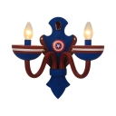 American Style Candle Wall Lamp Metal 2 Bulbs Blue&Red Wall Light for Nursing Room Bedroom