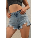 Summer Girls Sexy Ripped Frayed Hem Denim Shorts