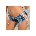 Womens Summer Sexy Distressed Frayed Hem Cutout Lace-Up Side Clubwear Hot Pants Denim Shorts