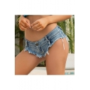 Summer Girls Fashion Distressed Frayed Hem Sexy Beach Blue Hot Pants Denim Shorts