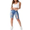 Fashion Dark Blue Destroyed Ripped Raw Hem Womens Stretch Fit Skinny Half Denim Shorts