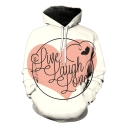 Unique Letter LIVE LAUGH LOVE Print Long Sleeve White Sport Loose Hoodie