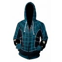 3D Cosplay Costume Spiderman Printed Blue Zip Up Hoodie