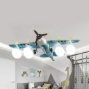 4 Heads Propeller Plane Pendant Light Antique Stylish Metal Hanging Light in Green for Study Room