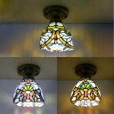 Tiffany Baroque/Victorian Flush Mount Light Stained Glass One Light Ceiling Fixture for Hotel