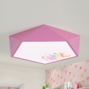 Acrylic Princess LED Flush Ceiling Light Girls Bedroom Cartoon Stepless Dimming Ceiling Light in Pink