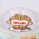 Cartoon Monkey King Flush Mount Light Metal Multi-Color Warm/White LED Ceiling Lamp for Kid Bedroom