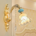Elegant Style Blossom Wall Light Glass Metal 1/2 Head Gold Sconce Light with Crystal Deco for Bedroom