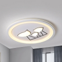 Acrylic Circle/Rectangle Ceiling Mount Light with Chick Living Room Contemporary Gray/White Flush Mount Light in Warm/White