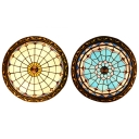 Stained Glass Umbrella Ceiling Light 4 Lights Antique Tiffany Flushmount Light in Blue/White for Bedroom