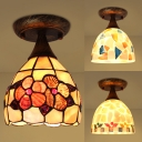 Antique Style Bowl Ceiling Light One Head Shell Flushmount Light for Foyer Dining Room