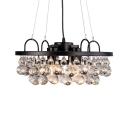 Traditional Ring Ceiling Pendant Metal Black Chandelier with Clear Crystal Ball for Dining Room