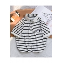 Guys Summer Simple Letter GOOD Striped Printed Casual Loose Polo Shirt