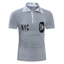 Hot Popular Letter NYC Pattern Short Sleeve Mens Slim Fitted Polo Shirt