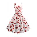 Womens Trendy Vintage Allover Cherry Pattern Sleeveless White Midi Flared Swing Dress