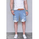 Men's Simple Fashion Ripped Detail Solid Color Light Blue Denim Shorts