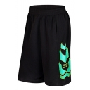 Summer Trendy Colorblock Printed Elastic Waist Men's Basketball Shorts Casual Loose Athletic Shorts