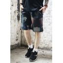 Summer Trendy Printed Drawstring Waist Mesh Quick Drying Men's Casual Athletic Shorts