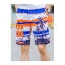 Fashion Colorblock Striped Letter 168 Tropical Printed Summer Beach Swim Trunks