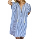 Summer Fashion Striped Print V-Neck Short Sleeve Mini Casual Relaxed Dress