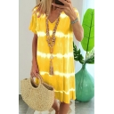 Summer Womens Hot Popular V-Neck Short Sleeve Striped Midi Casual Beach Dress